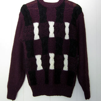 Vintage Hipster Sweater Chunky Purple White Black Cable Knit L