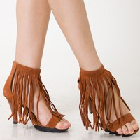 Brown Strappy Heel Sandal with Fringe Detail
