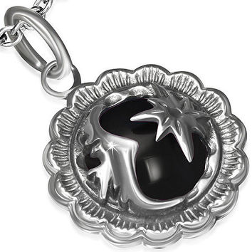 Stainless Steel 2-tone Crystal Shining Star Flower Circle Pendant w/ Black Onyx