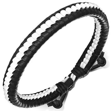 Fashion Ribbed Wrap Rope Adjustable White & Black Leather Bracelet