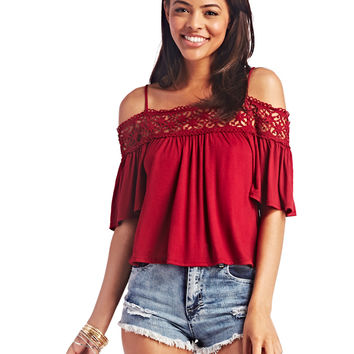 Crochet Trim Off-Shoulder Top | Wet Seal