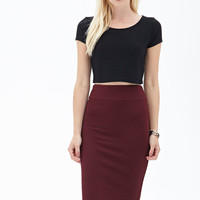 Textured Zigzag Midi Skirt