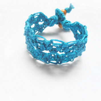 Bright Blue Diamond Lace Hemp Cuff Bracelet, ready to ship.