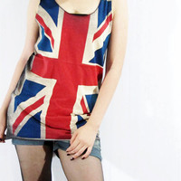 UNION JACK United Kingdom UK Flag Shirt Teen Women Art Tank Top Women Sleeveless Tunic Top Vest Women Singlet Screen Print T-Shirt Size S M
