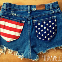 HighWaisted Shorts, American Flag (Size MEDIUM)