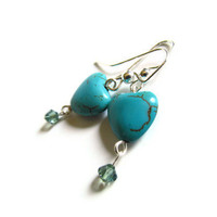 Turquoise Hearts and Swarovski Crystal Earrings