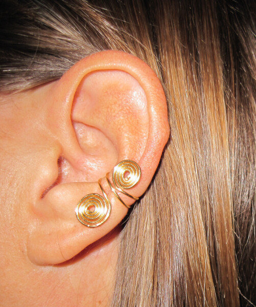 "2 Ear Cuffs Free Shipping US or International Non Pierced ""Double Spiral"""