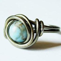 Turquoise And Gunmetal Ring Custom .. on Luulla