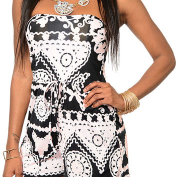 Black Ivory Demure Textured Patterned Shorts Romper