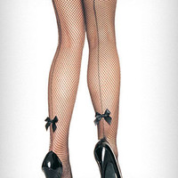 Back Seam Bow Fishnet Pantyhose