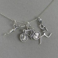STERLING SILVER SWIM BIKE RUN - Sterling silver pendants with 16 inch sterling silver chain