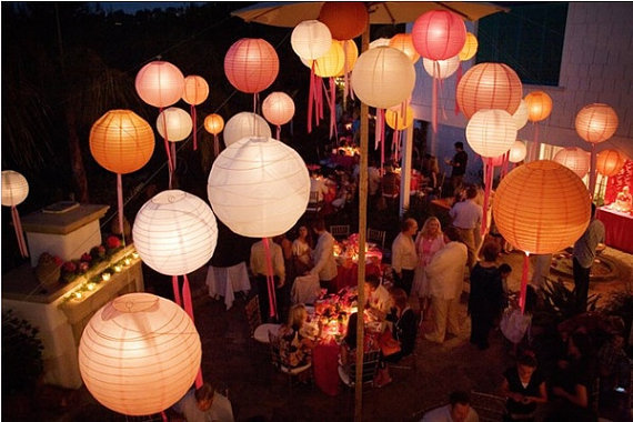 48 Paper Lanterns with ribbons - Wedding, Party, Nursery Decor