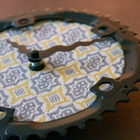 gray and yellow damask recycled bike clock by 1byliz on Etsy