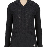 silver jeans co. ® black v-neck hooded sweater