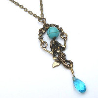 Antiqued Brass Mermaid Turquoise Quartz Necklace