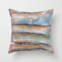 Cushion cover with fine art print. Blue and brown tones, watercolor.
