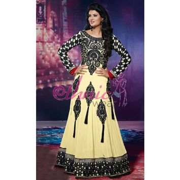 Gorgeous Cream Georgette Party Wear Anarkali Kameez - Designer Salwar Kameez - Salwar Kameez - Womens Clothing - TheEthnicWear