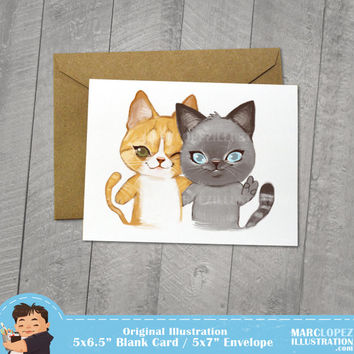 BFF Best Friend Blank Card, Cat Illustration, Orange Tabby, Persian Cat, Birthday, I Miss You, Greeting Card 5 x 6.5, 5 x 7 Kraft Envelope