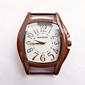 Brown Watch Face, Square Brown Watch, Watch Making Supply, Large Watch Face, 2 x 1.6in, Solid Bar Watch Face in Brown White Make Your Own