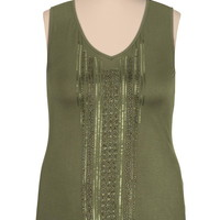 Shimmer front plus size tank