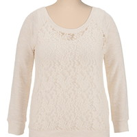marled sleeve lace plus size top