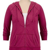 Ribbed zip front lightweight plus size hoodie