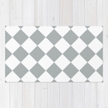 Diamond Grey & White Area & Throw Rug by BeautifulHomes | Society6