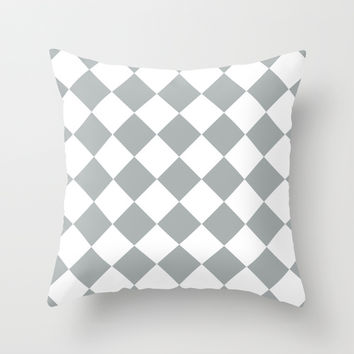 Diamond Grey & White Throw Pillow by BeautifulHomes | Society6