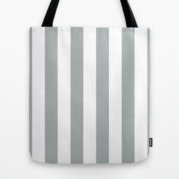 Stripe Vertical Grey & White Tote Bag by BeautifulHomes | Society6