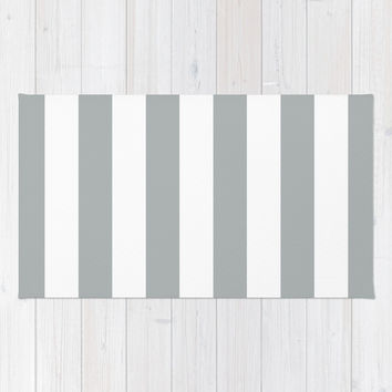 Stripe Vertical Grey & White Area & Throw Rug by BeautifulHomes | Society6