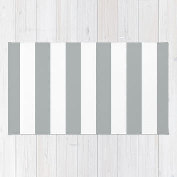 Stripe Vertical Grey & White Area & Throw Rug by BeautifulHomes   Society6
