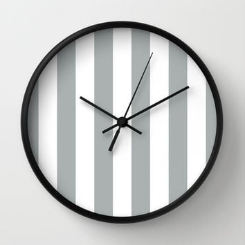 Stripe Vertical Grey & White Wall Clock by BeautifulHomes | Society6