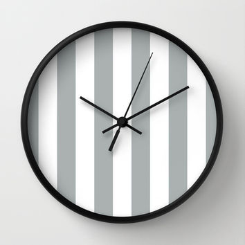 Stripe Vertical Grey & White Wall Clock by BeautifulHomes   Society6