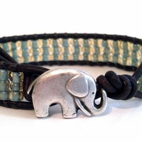 TOHO Seascape Beaded Leather Wrap Bracelet, Good Luck Elephant Button, Friendship Stack Bracelet, Chan Luu Inspired, PZW069