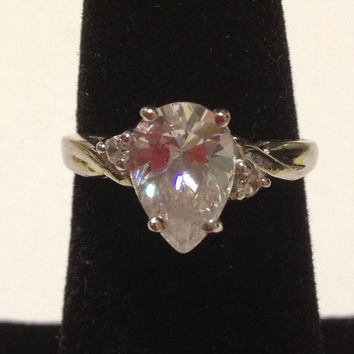 10K White Gold CZ Ring Sz 7 Cubic Zirconia Faux Diamond Engagement Promise Wedding Vintage 80s Jewelry Valentine's Christmas Holiday Gift