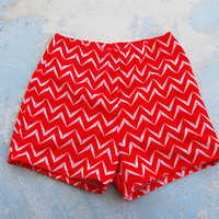 60s Hot Pants - High Waist Shorts -Red Tribal Print Sz S