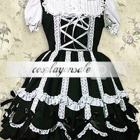 Lolita Costumes Cotton Black Lace Ties Gothic Lolita Dress [T110587] - $73.00