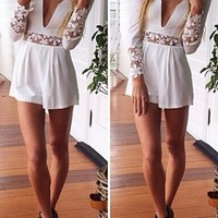 White Low-cut Lace Sleeves Romper Playsuit