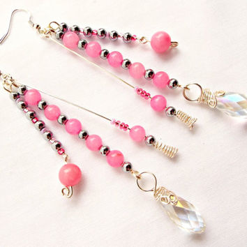 Pink Quartzite Earrings, Sterling Silver Earwires, Pink Dangle Earrings with Faceted Crystal Teardrops and Silver Hematite Beads, Long Drop