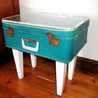 The Suitcase Sidetable ? Turquoise vinyl & perspex ? Tables ? Recreate