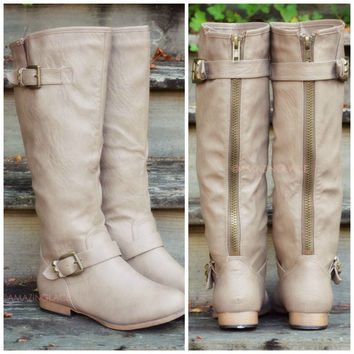 Windy Hills Taupe Studded Riding Boots