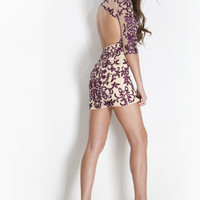 Rachel Allan 6712 - Plum Embroidered Sheer Homecoming Dresses Online