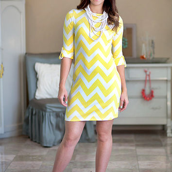 Chevron Dress Yellow