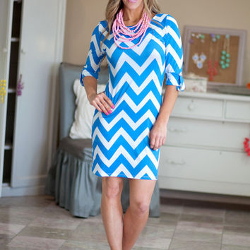 Chevron Dress Blue