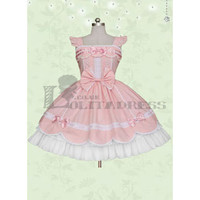 Well-Made Sleeveless Bowknot Ruffles Cotton Pink Sweet Lolita Dress [TQL120507111] - £50.59