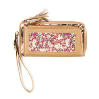 Tan Faux Leather, Floral Print and Plaid Zip Around Wallet