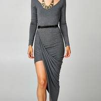 ASYMMETRICAL LONG SLEEVE DRESS - GREY