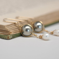 Romantic Pearl Drop Earrings in 14kt Gold Fill, Wire Wrapped, Kristin Noel Designs
