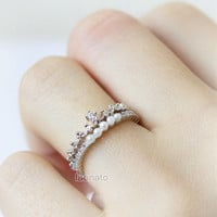Princess Tiara Ring in silver / adjustable ring