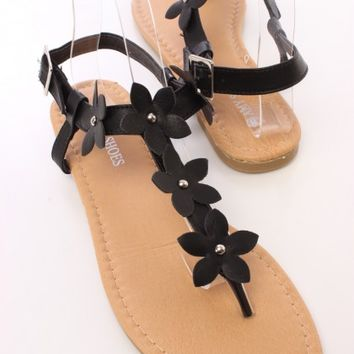 Black Flower Accents Sandals Faux Leather